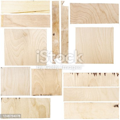 Collection of images with various pieces of birch plywood isolated on white background