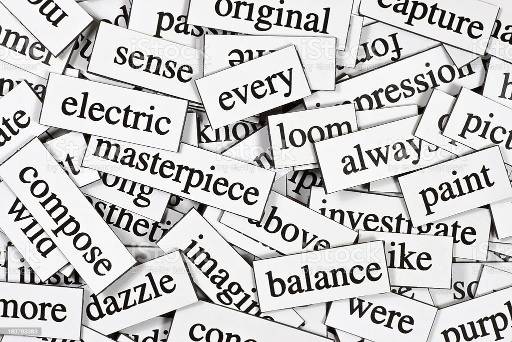 Collection of inspirational jumbled words royalty-free stock photo