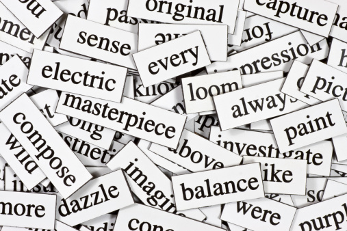 Collection Of Inspirational Jumbled Words Stock Photo - Download Image Now