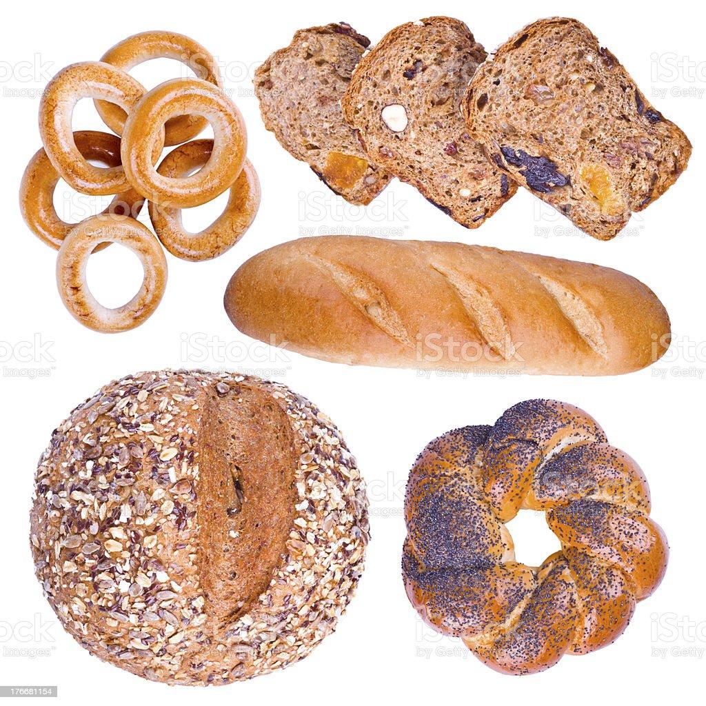 Colección de productos de panadería aislado foto de stock libre de derechos