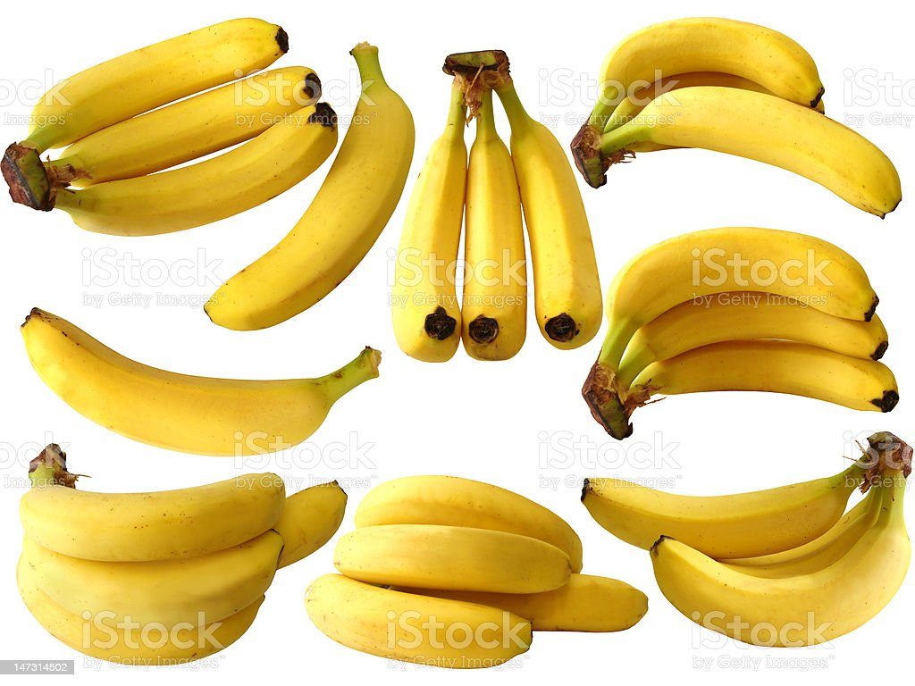 collection of isolated banana on white background stock photo