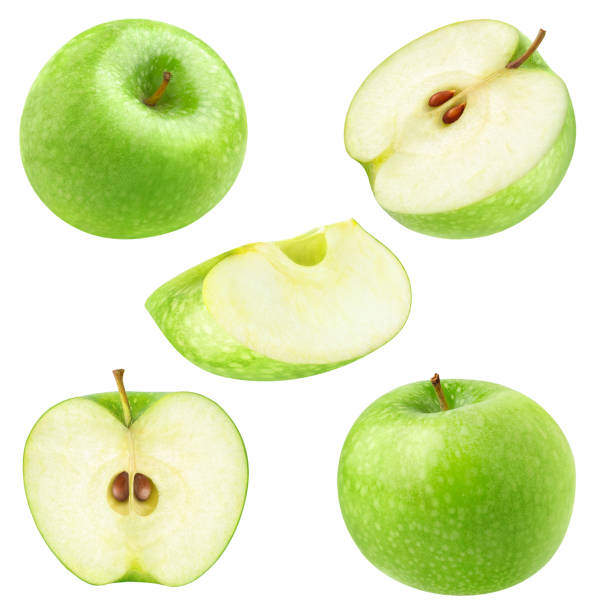 Collection of isolated cut green apples Isolated apples. Collection of whole and cut green apples isolated on white background with clipping path granny smith apple stock pictures, royalty-free photos & images