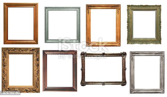 Collection of various antique frames on white background