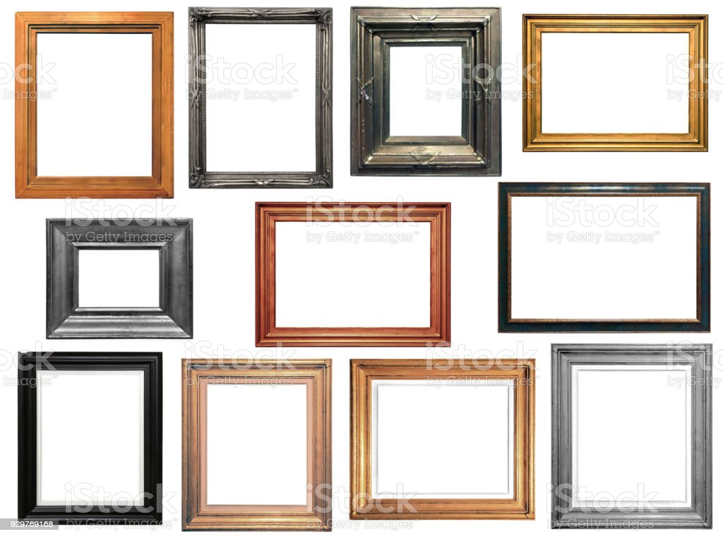 Collection of isolated frames stock photo