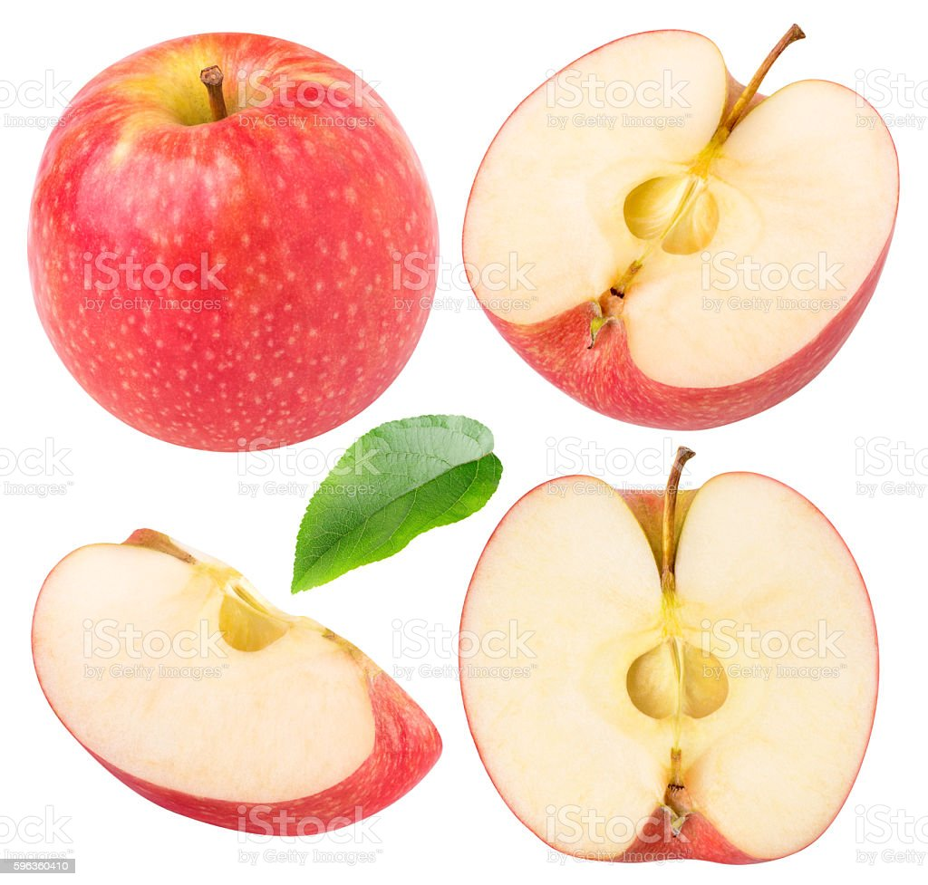 Collection of isolated red apple pieces royalty-free stock photo