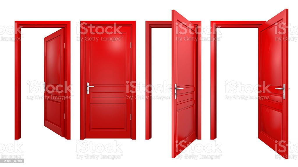 Collection of isolated red doors stock photo