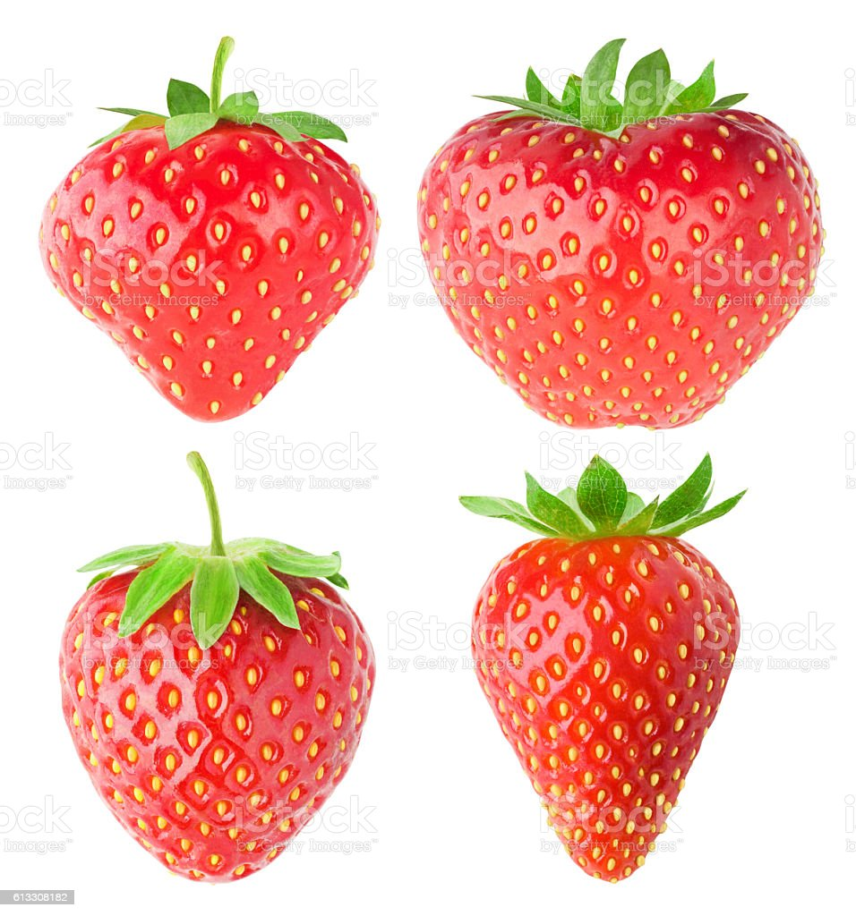 Collection of isolated strawberries stock photo