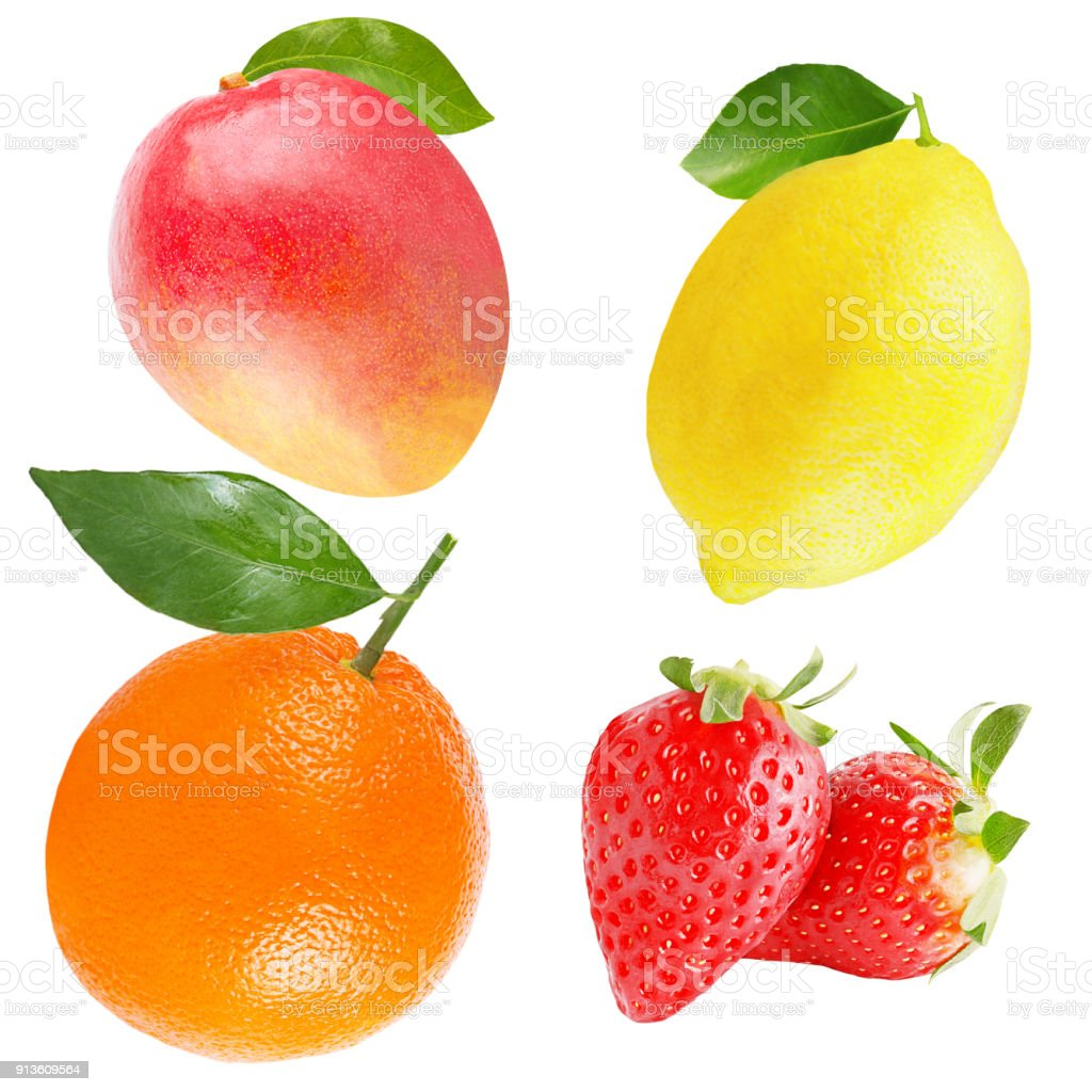 Collection of Isolated variety of fruits - foto stock