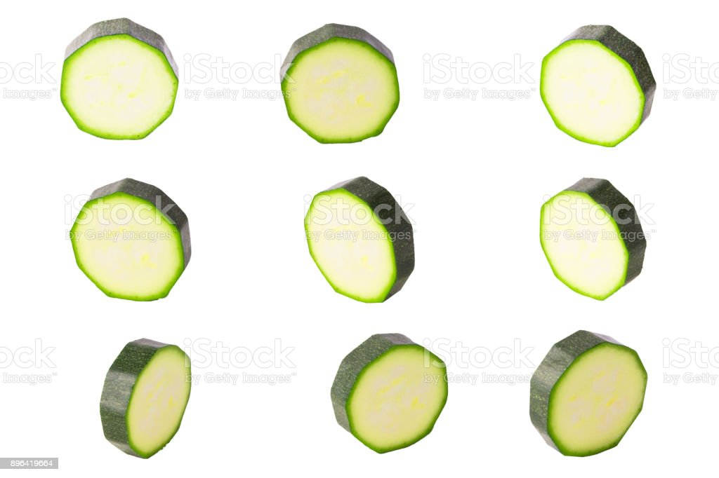 Collection of isolated washers zucchini on white background - foto stock