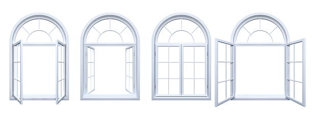 Collection of isolated white arched windows stock photo