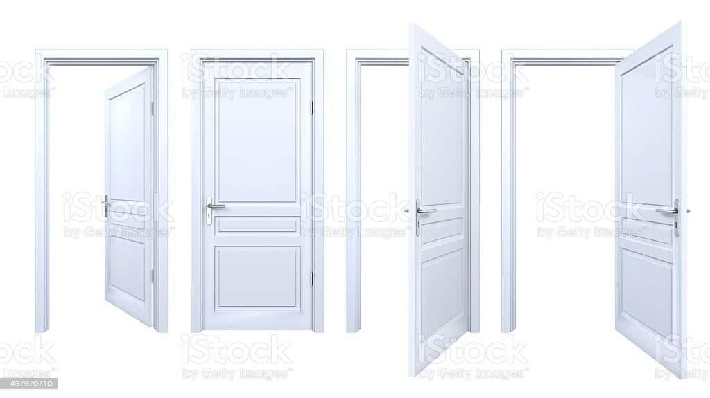 Collection of isolated white panel doors stock photo