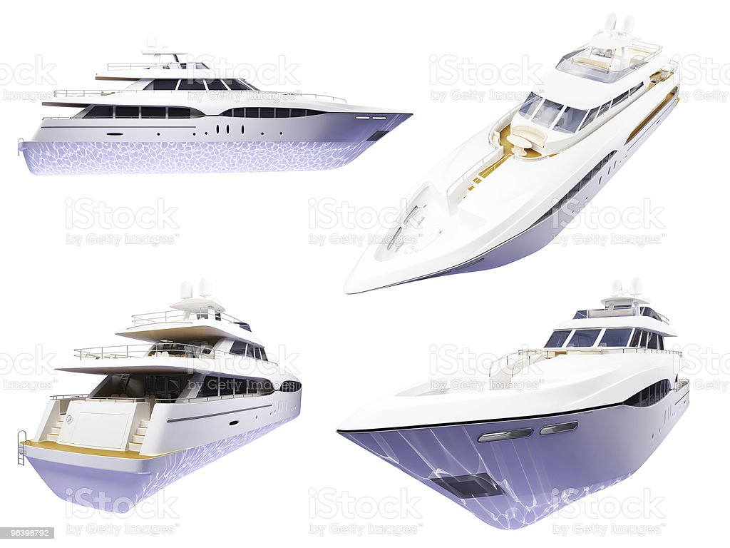 Collection of isolated yachts - Royalty-free Collection Stock Photo