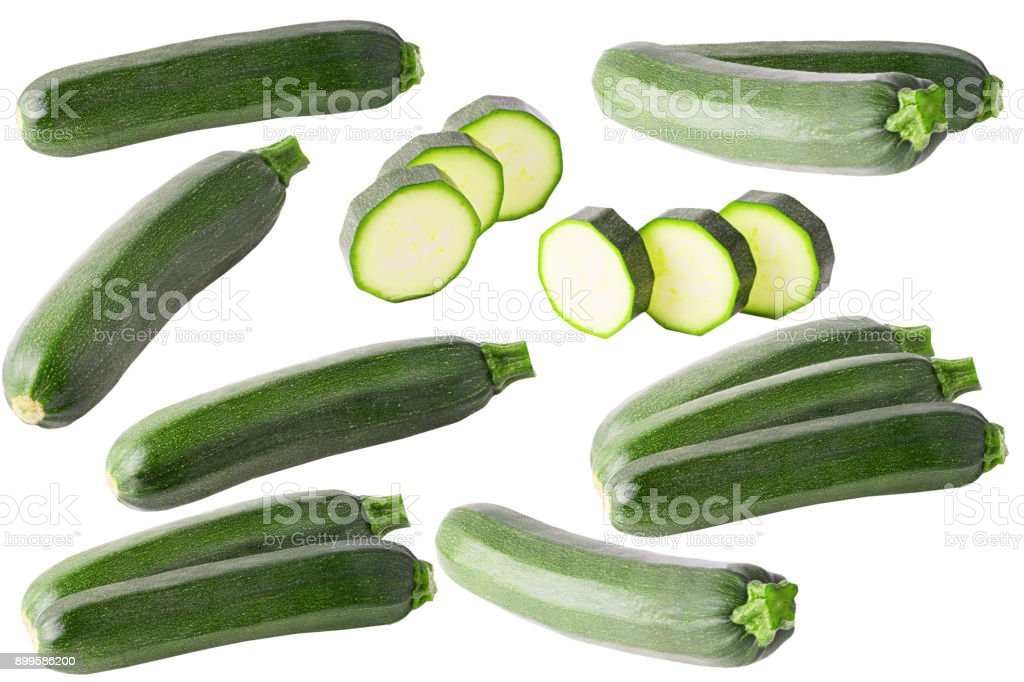 Collection of isolated zucchini on white background - foto stock
