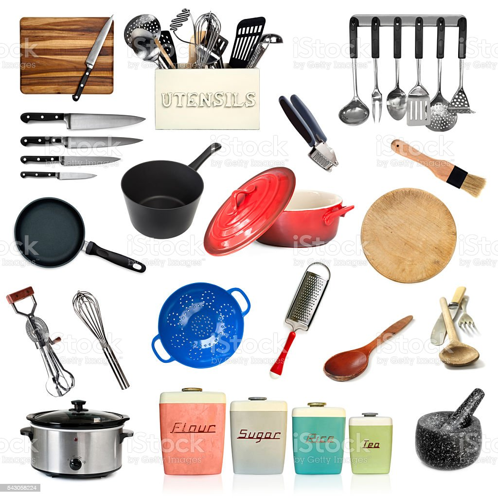 Collection of Kitchen Utensils Isolated stock photo