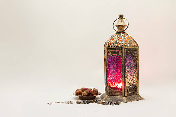 collection of lantern with dates and rosary - ramadan stock photos and pictures