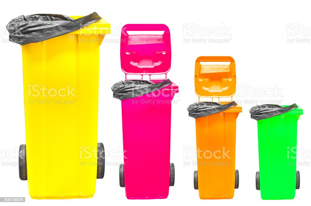 Collection of large colorful trash cans isolated on white stock photo