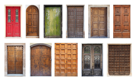 Collection of Large Double Doors Isolated on White