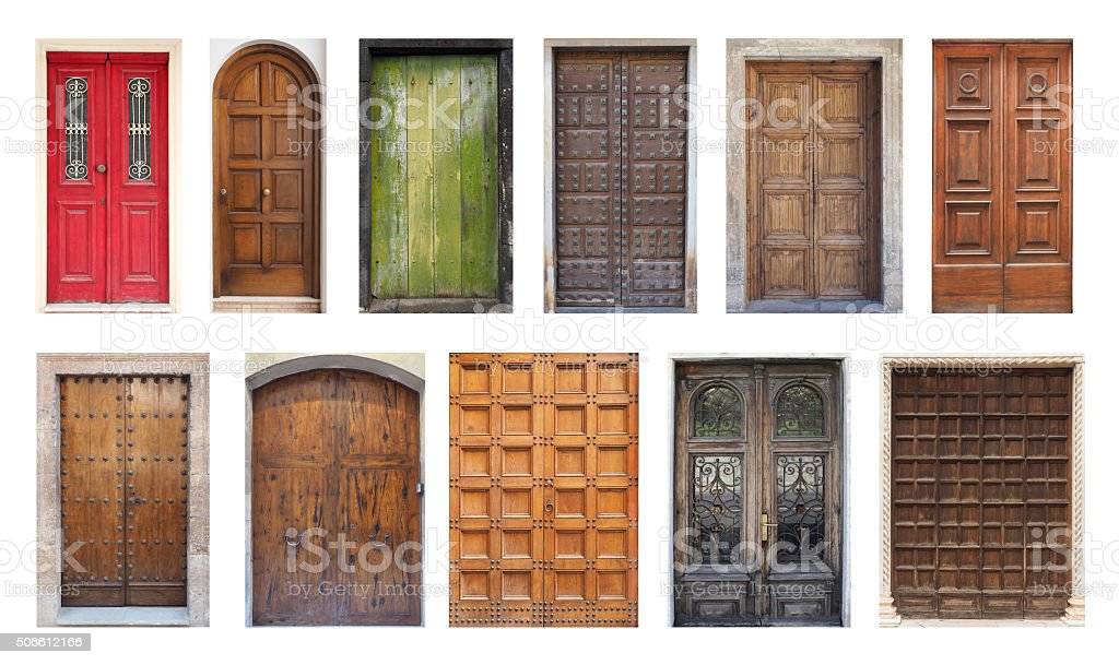 Collection of Large Double Doors Isolated on White stock photo