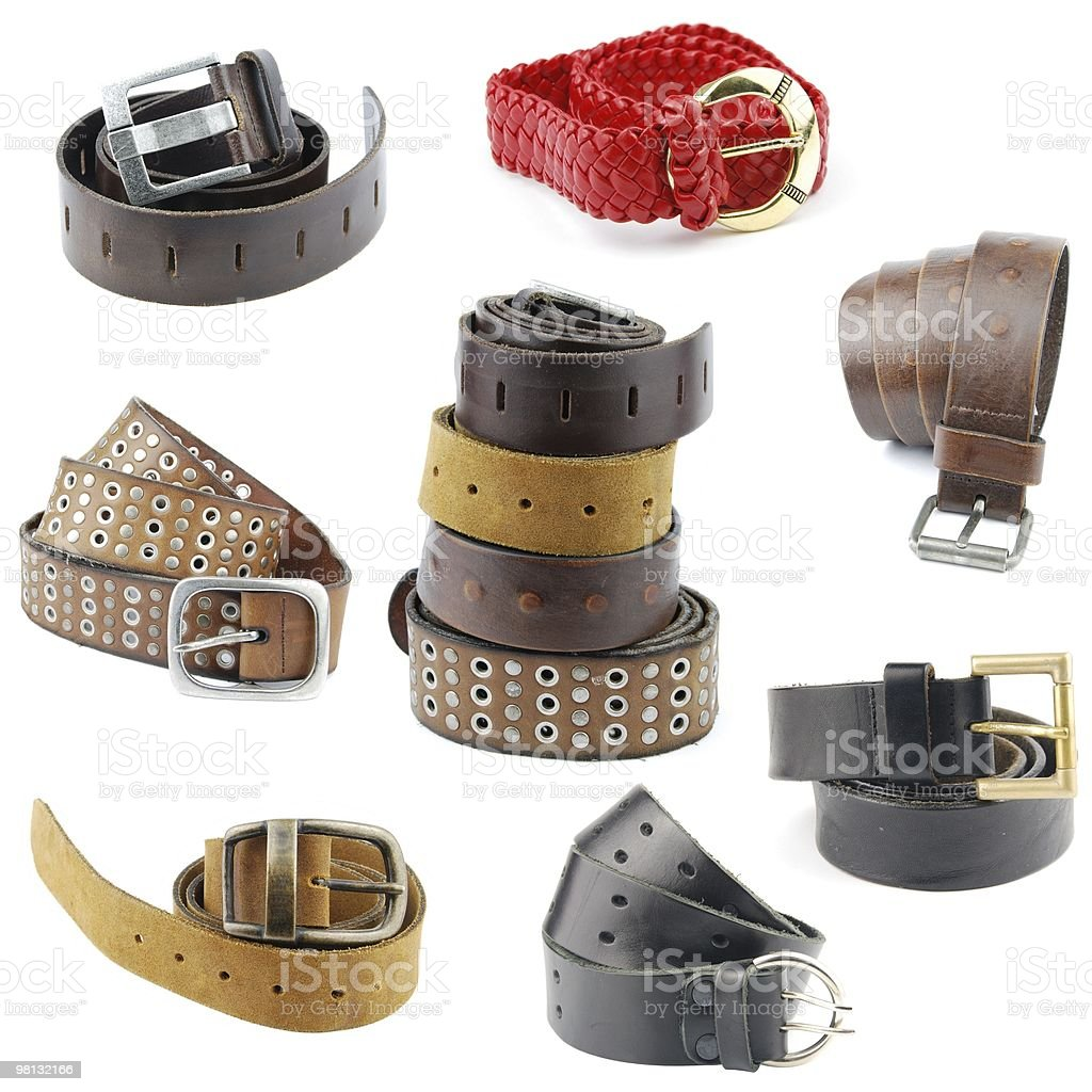 Collection of leather belts stock photo