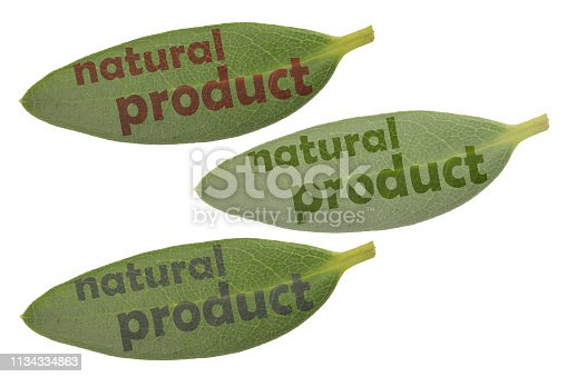 857345082 istock photo Collection of leaves with the inscription natural product 1134334863