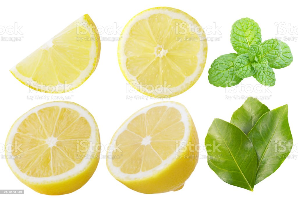 Collection of lemon fruits with leaves and mint isolated on white background - foto stock