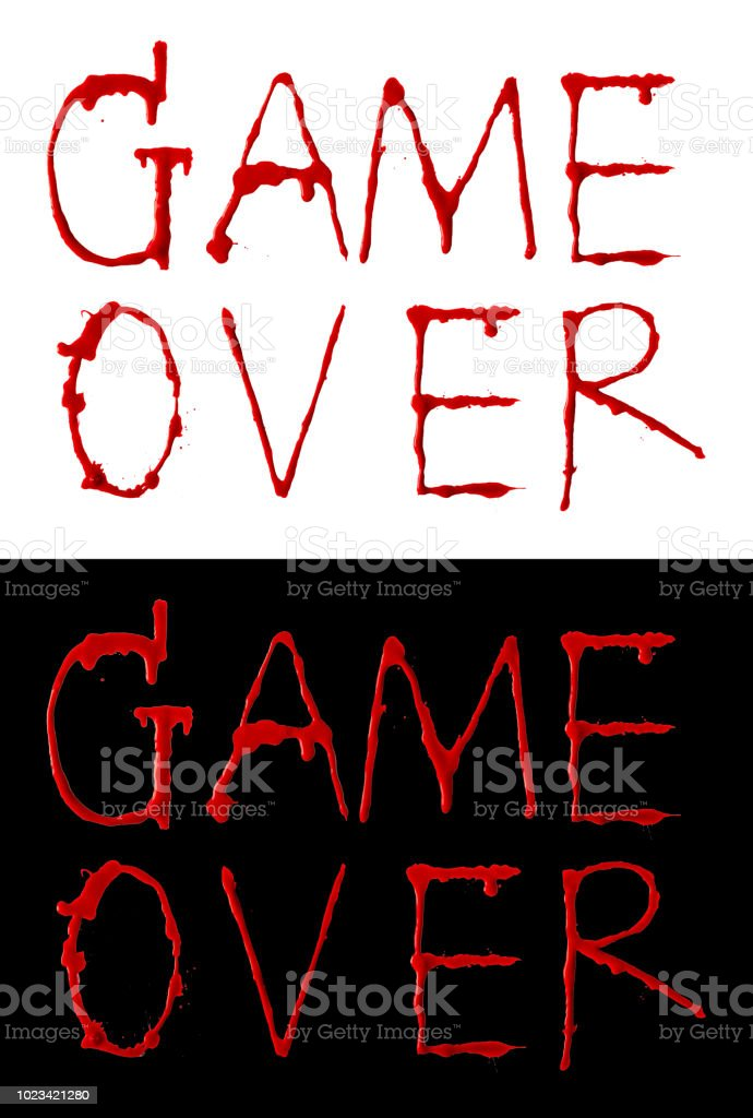 """Collection of letters blood written dripping fonts """"GAME OVER"""" with clipping path, Horror and emergency concept, Isolated on white and black background and ..."""