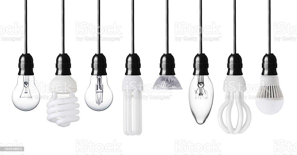 Collection of light bulbs stock photo