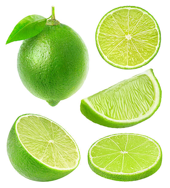 Collection of lime slices isolated on white with clipping path stock photo