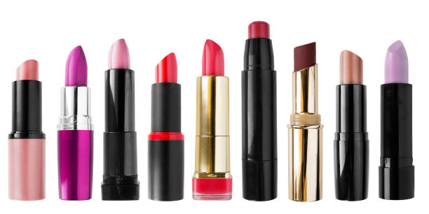 collection of lipsticks - rossetto foto e immagini stock