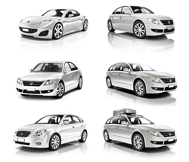 3 d reihe von luxus silber-sportwagen - hecktürmodell stock-fotos und bilder