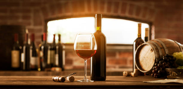 Collection of luxury wines in the cellar stock photo