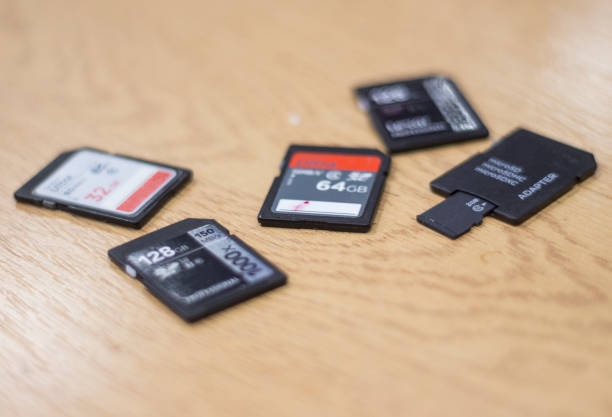 collection of memory cards - memory card stock photos and pictures
