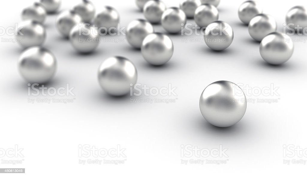 Collection of metal spheres stock photo