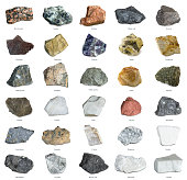 Collection of minerals. Iron ore, sandstone, apatite, quartz, bauxite, limonite, phosphorite, magnesite, gypsum, agate, asbestos, marble, corundum, kaolin and other minerals.