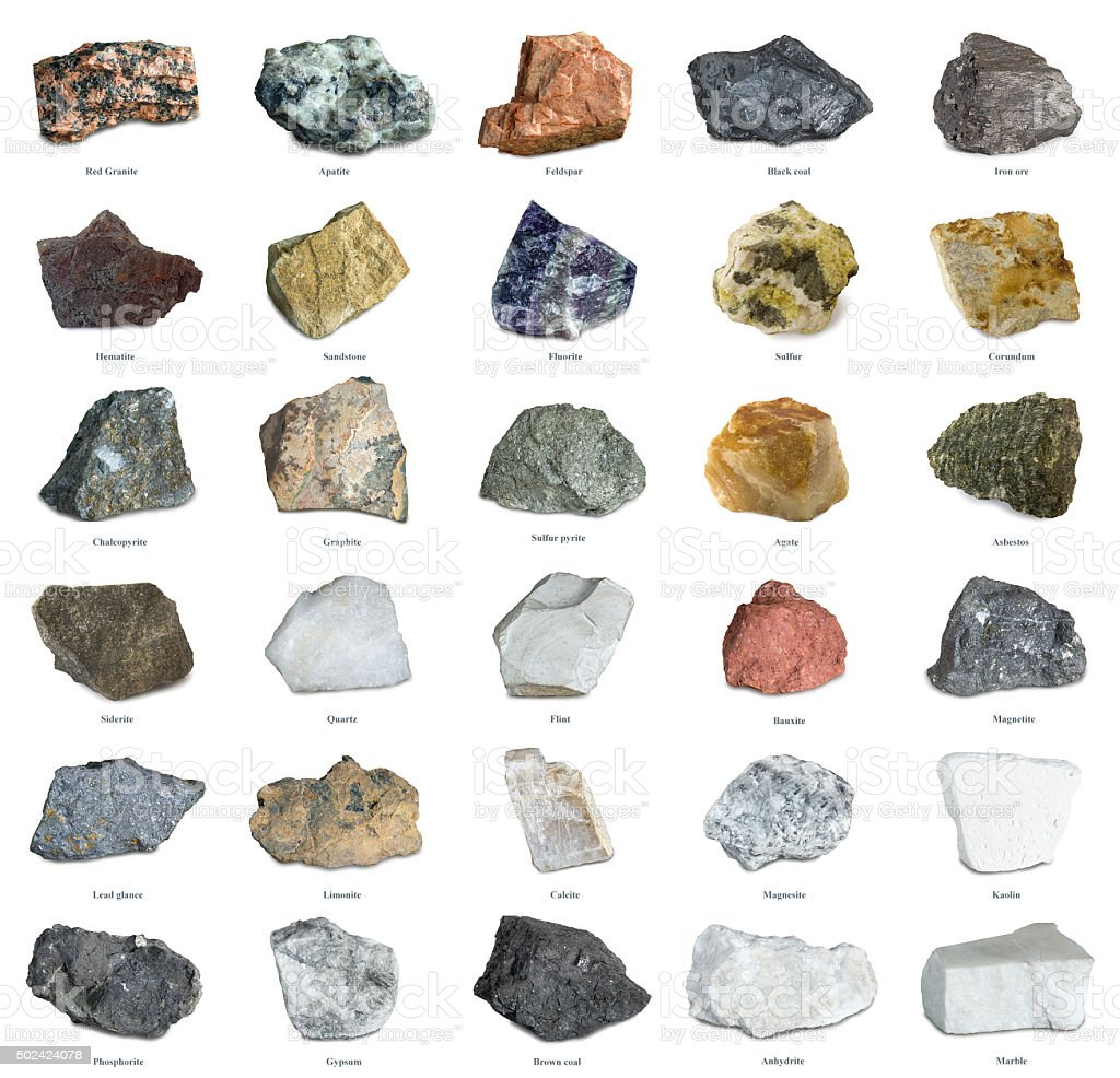 Collection of minerals isolated on white stock photo