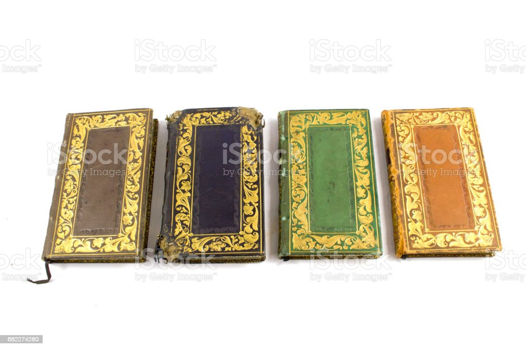 Collection Of Miniature Books On White Background Stock