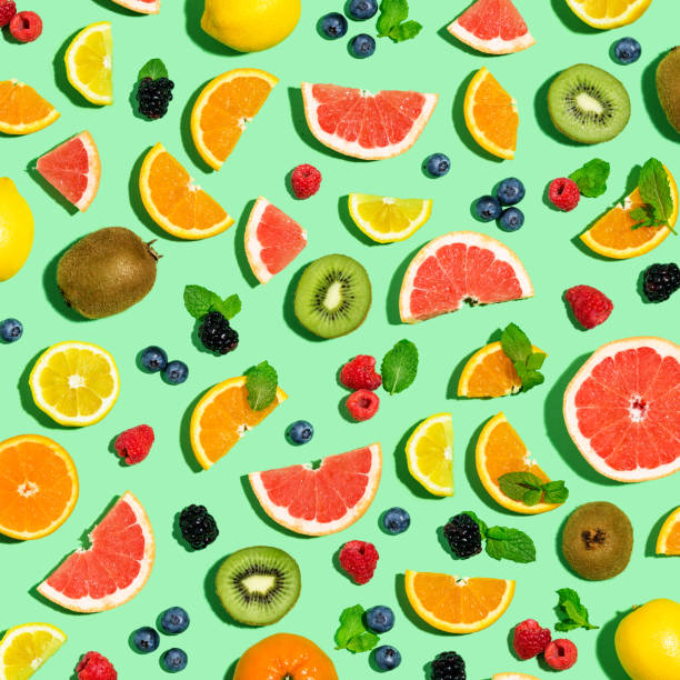 Collection of mixed fruits stock photo
