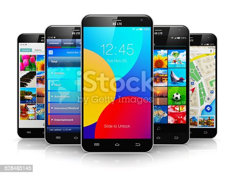 istock Collection of modern touchscreen smartphones 528465145