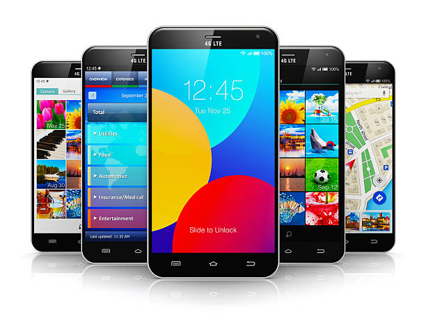 Collection of modern touchscreen smartphones stock photo