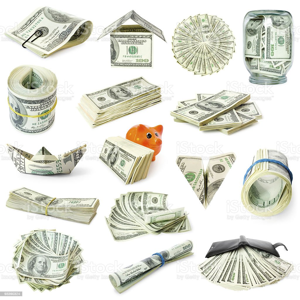 collection of money isolated on white stock photo