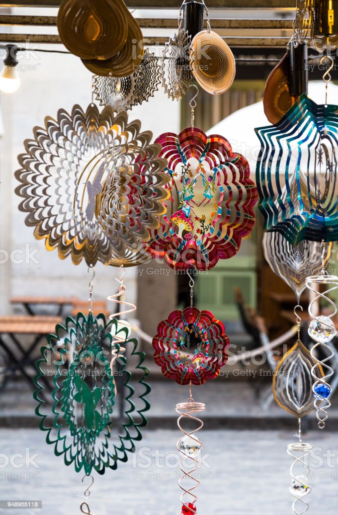 Collection of multi colored hanging mobiles for sale in London, UK stock photo