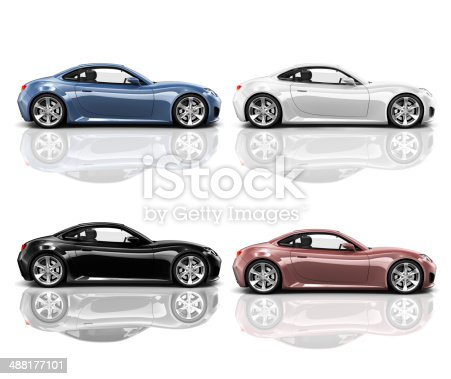 483959606 istock photo Collection of Multicolored 3D Modern Cars 488177101