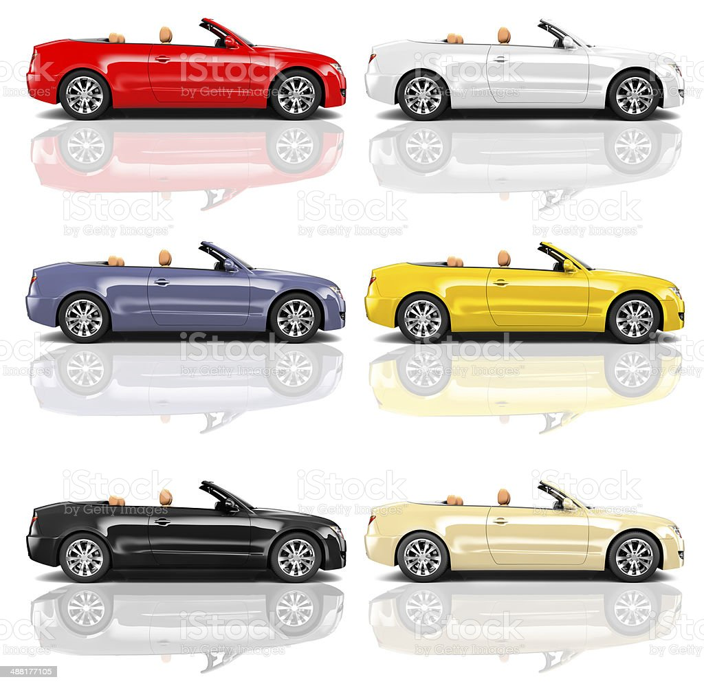 Collection of Multicolored 3D Modern Cars royalty-free stock photo