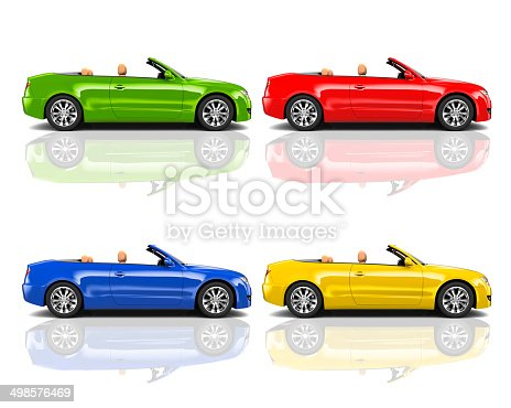 483959606 istock photo Collection of Multicolored 3D Modern Cars 498576469