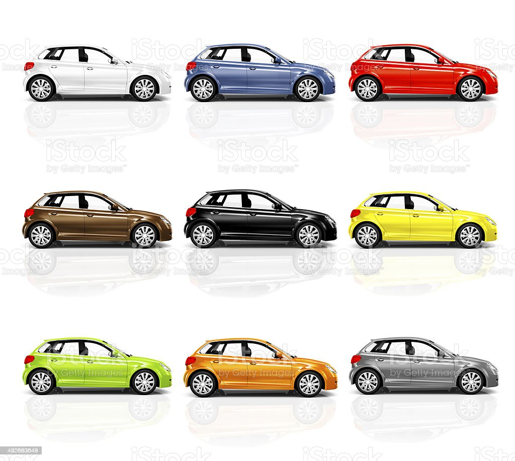Collection of Multicoloured 3D Modern Cars stock photo