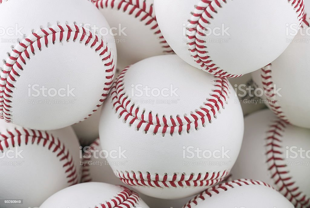 Collection of multiple baseballs stock photo