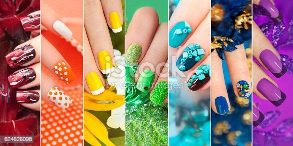 istock Collection of nail design . 624626098