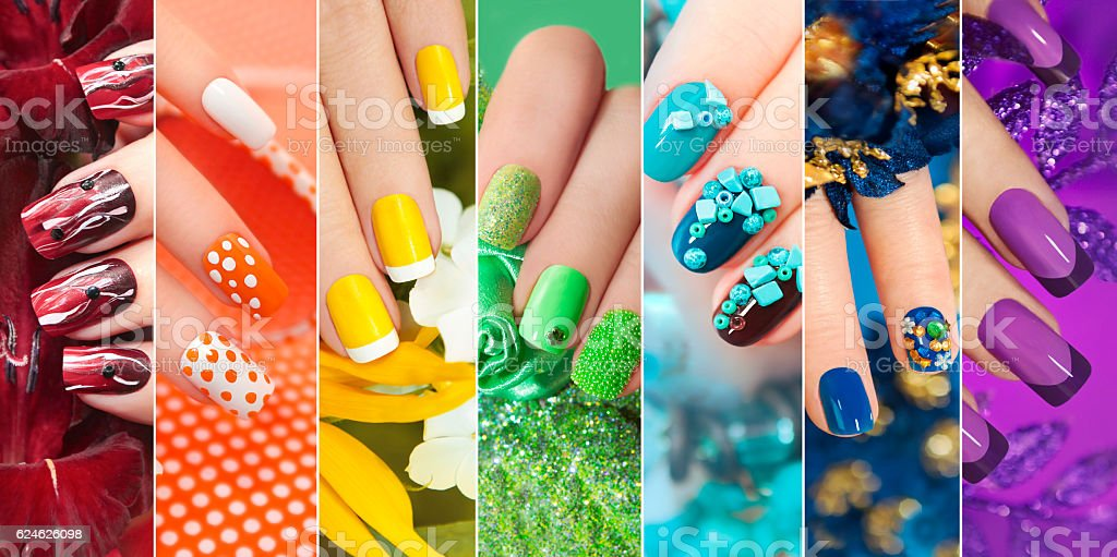 Collection of nail design . stock photo