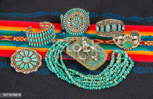 istock Collection of Native American Jewelry, Turquoise and Sterling Silver. 1071579318