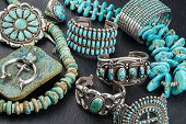 istock Collection of Native American Turquoise and Silver Jewelry. 482327501